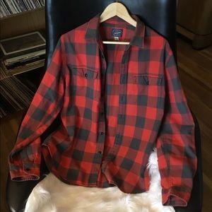 Men's L J Crew Buffalo Plaid Flannel Shirt
